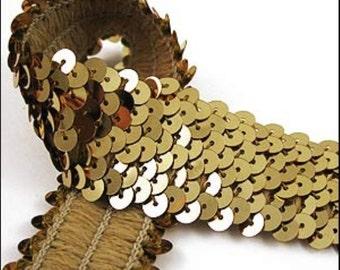 Gold elastic sequin trim.10 Meter card. 32mm - 1.25 inch width. Code JR03326