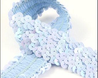 10 Meter card of shiny baby blue elastic sequin trim. 32mm - 1.25 inch width. Code JR03364