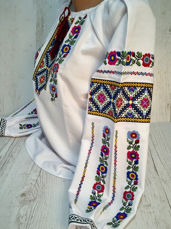 Embroidered Romanian Blouse Blouse Hutsul Vyshyvanka Ukrainian Blouse fq7WBwa5