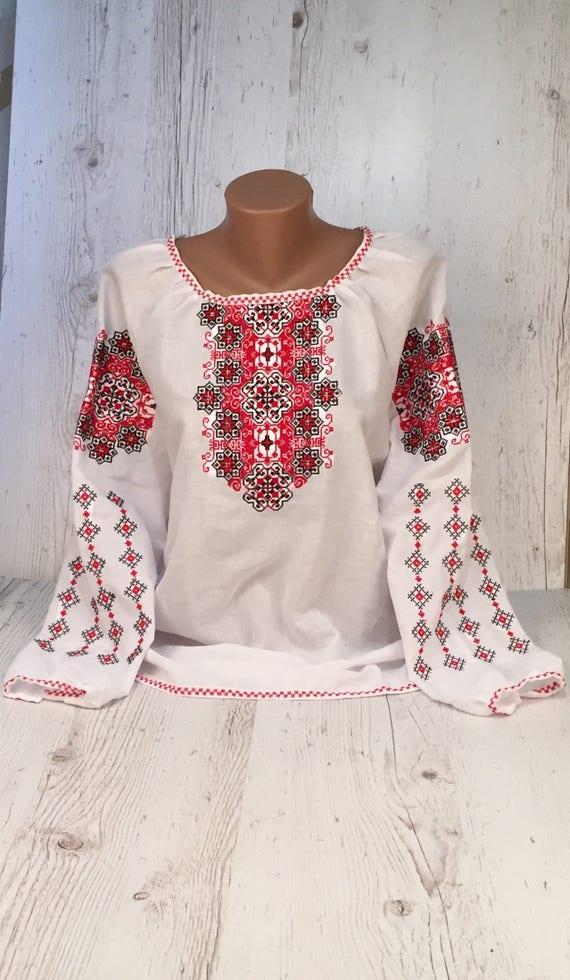Ukrainian Blouse Vyshyvanka Blouse Embroidered Romanian 65pfvq