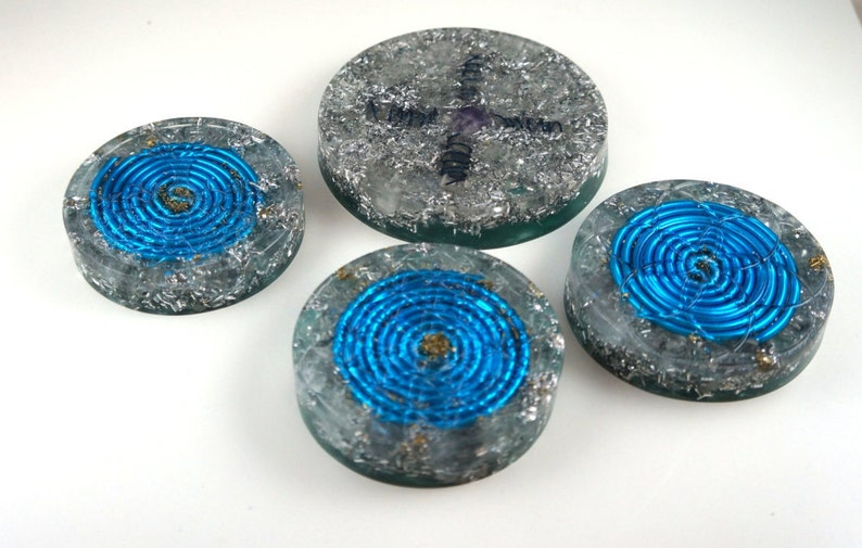 Set of 4 charge plate Positive orgone energy resin creation image 0