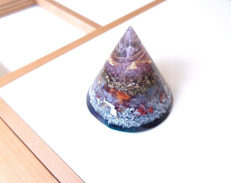 Big Positive orgone energy resin creation cone pyramid image 0