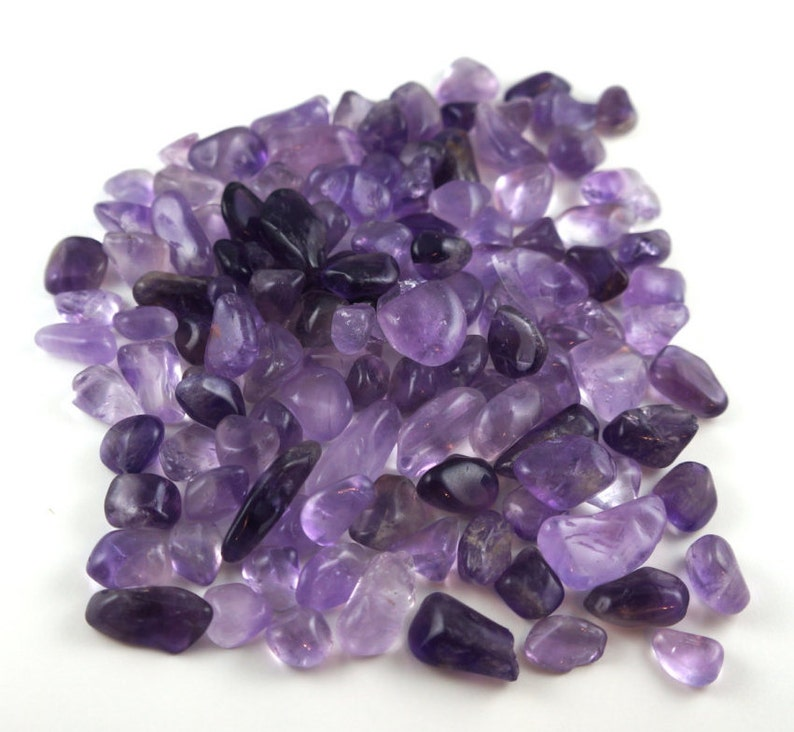 Bag of amethyst tumbled stone various sizes 100 gr image 0