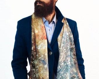 Echarpe homme, Mens Silk Scarves, Galaxy print scarf, Watercolor Silk  Scarf, Fashion Scarf, Men Fashion 2019, Romantic gift for him, hipster 9a8c7e6706b