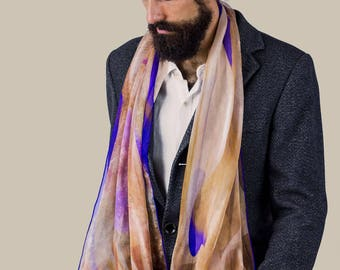 84820a87d7e Silk scarf men, Printed scarf, Chiffon silk scarf, Watercolor Scarf,  Meaningful gift for him, Scarf men, Mens fashion, Neck scarf, Men scarf