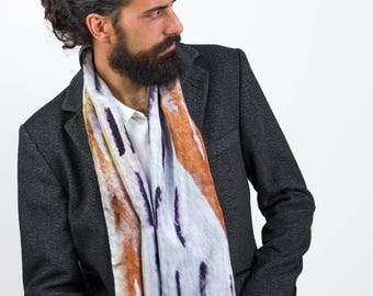 ffd39e92268 Men Scarf / Man Silk Scarf / Print / Mens / Clothing / Gift for Him, Extra  Long Scarf Man, Black and White, Silk Scarf, Accessories, for him