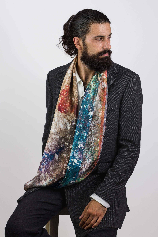 Mens silk scarf Galaxy Scarf Extra long scarf Man neck | Etsy