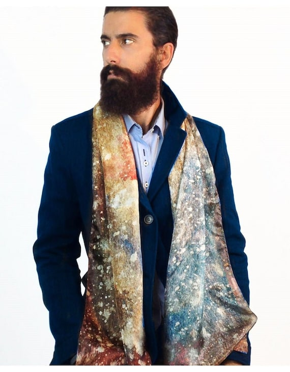 Echarpe homme Mens Silk Scarves Galaxy print scarf   Etsy
