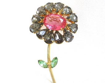 Gorgeous Rhinestone and Gold Stem Flower Brooch - Pink, Green & Black Diamond - Gold Prong Settings - NY Estate Jewelry