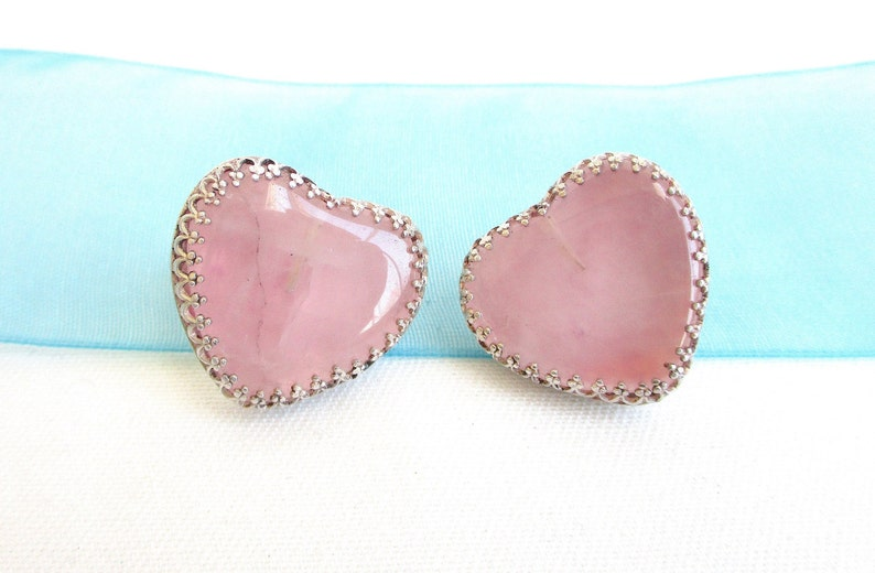 NY Estate Jewelry 78 Tall Pink Quartz Heart and Sterling Silver Lovely Vintage Stud Back Earrings Hallmarked 925 DF