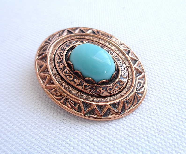 Copper and Turquoise Cabochon Vintage Brooch and Clip Back Earring Set Stamped Metal Design Estate Jewelry