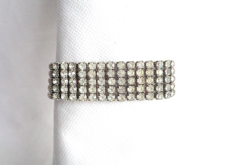 78 Wide Gorgeous Five Row Sparkling Rhinestone Vintage  Bracelet Silver Prong Setting /& Safety Chain Great Gatsby Style