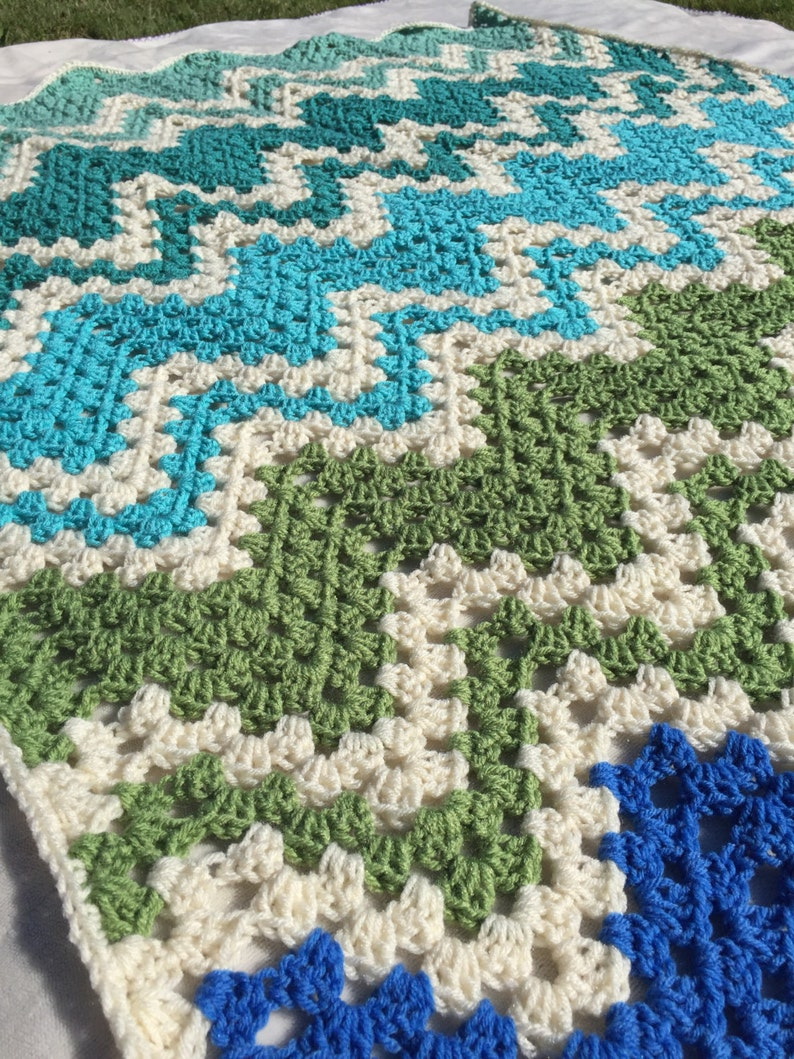 Blue and Green Chevron Afghan