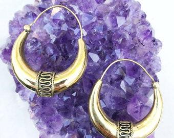 Tribal Brass Hoop Earrings, Brass Earrings, Boho Earrings, Festival Earrings