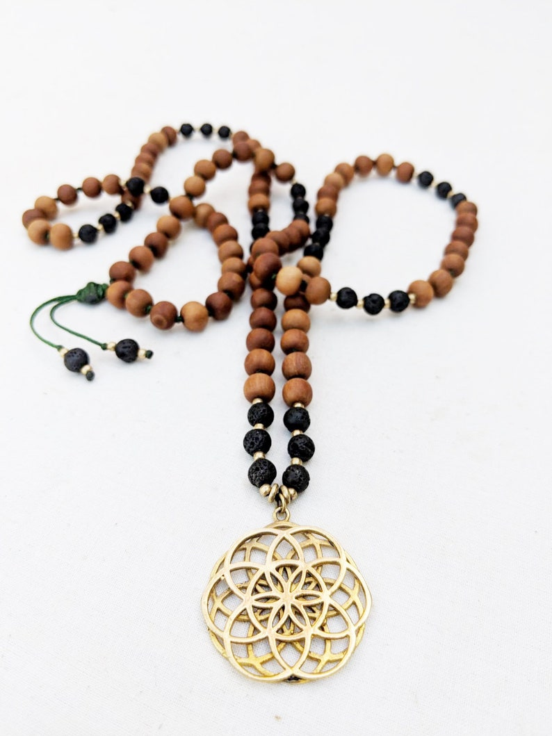 Yoga Mala Black Lava Sandalwood Seed of Life Pendant Necklace 108 Beads