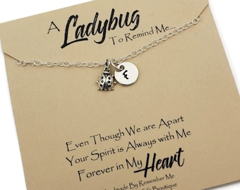 Sterling Silver Memorial Necklace, Personalized Initial Necklace with Ladybug, Forever In My Heart, Unique Memorial Gift Idea for Loss