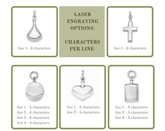 Add On Engraving Option for Cremation Urn Pendants and Sterling Silver Cremation Jewelry both Human Ashes and Pet Ashes