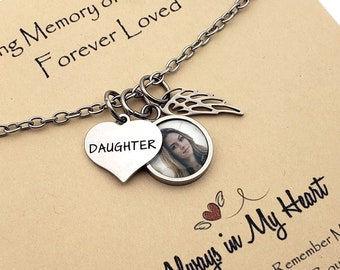 Daughter In Heaven, Loss of Daughter Necklace Photo, Memorial Gift in Remembrance of Daughter with Picture, Loss of Child Sympathy