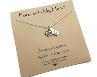 Sterling Silver Personalized Memorial Necklace, Sympathy Gift, Infinity and Name Pendant, Loss of a Loved One, Loss of Husband Sibling