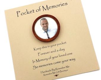Sympathy Gift for Man, Pocket Keepsake with Photo, Memorial Gifts for Men, Memory Pocket Stone, Photo Token, Remember Me  Pocket of Memories