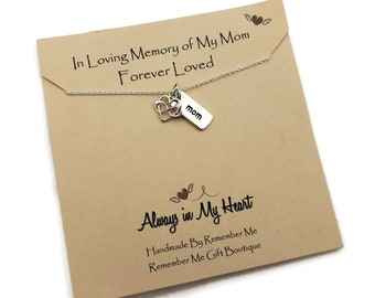 In Loving Memory of My Mom, Forever Loved, Mother Memorial, Sympathy in Remembrance, Bereavement and Condolences, 925 Sterling Silver