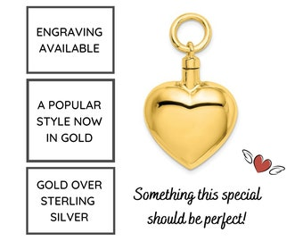 Heart Urn Necklace in Gold over Sterling Silver, Heart Cremation Jewelry, Ash Holder Necklace, Cremation Pendant, Pet Cremation Jewelry
