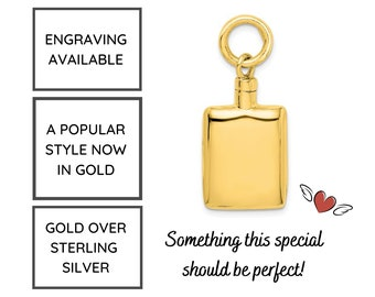 Gold Cremation Jewelry, Urn Necklace for Human Ashes, Cremation Necklace, Rectangle Urn Necklace, Pet Ashes Jewelry, Engraving Available