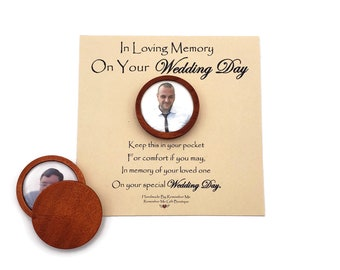 Custom Pocket Memory Stone, Personalized Memorial Stone with Photo, On Your Wedding Day Keepsake for Groom, Wedding Memorial Picture Charm