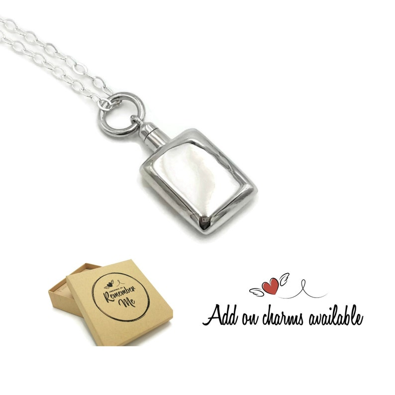 225f6143aa53f Cremation Jewelry Personalized, Urn Necklace for Human Ashes or Pet Ashes,  Sterling Silver Ashes Cremation Jewelry with Your Choice of Charm