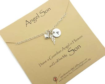 Loss of Son Necklace, Guardian Angel in Heaven, Angel Son, Memorial Necklace, Remembrance Necklace, In Loving Memory Condolence Gift