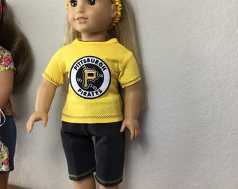 """Pittsburg Pirates Clothes Outfit for  18"""" Doll- fits American Girl Doll"""