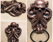 Cthulu Skull Door Knocker In Your Choice Color, Resin with Cast Iron Knocker