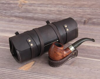 Genuine Leather Pipe & Tobacco Pouch Case Holder. Pipe Roll. Pipe Bag. Pipe holder.