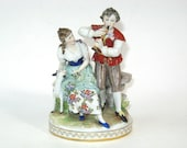 Antique Oldest Volkstedt Dresden German Porcelain Courting Couple Romantic Figurine Group Thuringia