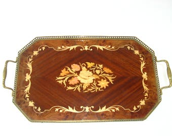 Sorrento Italian Floral Marquetry Inlaid Wood Serving Tray w/ Brass Rail