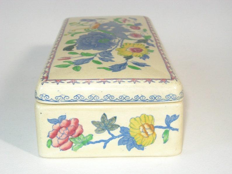 Vintage England Masons Ironstone REGENCY Plantation Colonial 7-78 Rectangular Glove Trinket Jewelry Box