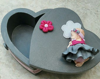 Grey heart wood and baby girl