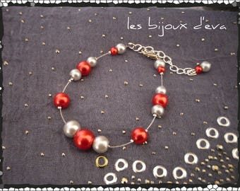 Bracelet wired with red and gray beads