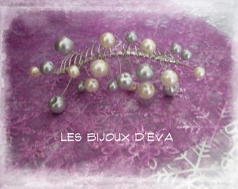 Hair comb with ivory and grey pearl beads wedding beads