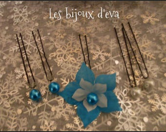 set of 5 hair pins with pearls and turquoise and white silk flower