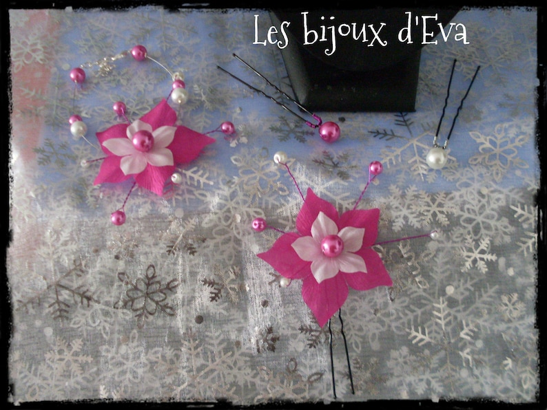 White Fuchsia Silk Flower Adornment