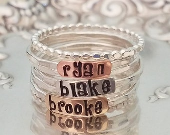 2mm-Sterling-Silver-Stackable-Name-Rings-Font-Mothers Ring-Push-Present-Stacking-Band-Customized-Thumb-Pinky-Hammered-Spacers-Set-Gift-Bead