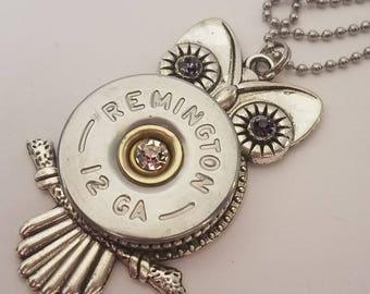 Owl, Necklace, Shotgun, Shell, Jewelry, Birthstone, Personalized, Custom, 12 Gauge, Pendant, Swarovski, Bullet, Silver, Bronze, Remington