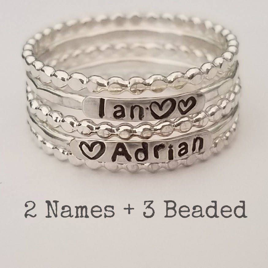 2Mm Sterling Silver Stackable Name Mothers Rings Three  Etsy-7477