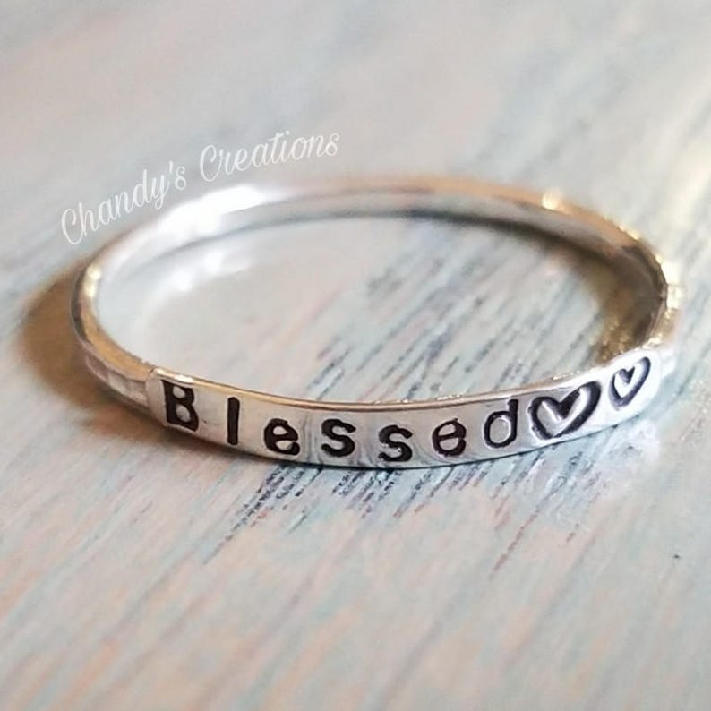 2mm Sterling, Silver, Stackable, Blessed, Ring, Be Still, Stacking, Rings,  Customized, Christian Jewelry, Inspirational, Faith, Hope, Love