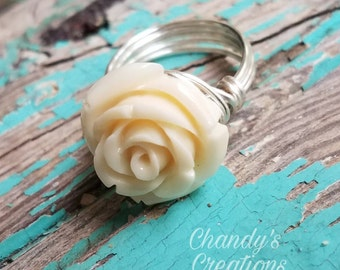 White Rose Ring, Rose Jewelry,  Flower, Wire Wrapped, Minimalist, White Rose, Bridesmaid, Gift, Wedding, Roses, Custom, Flowers, Daughter