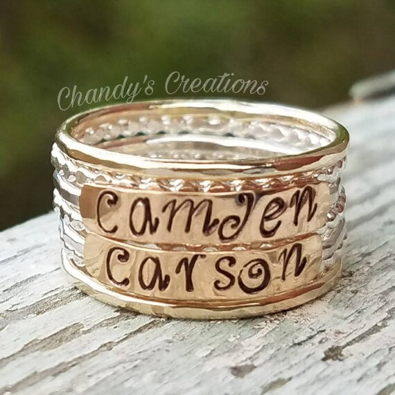 Midi Band Copper Mother/'s Rings Engraved Gold Beaded Hammered Layered Name Rings Stackable 3mm Sterling Silver Customized Rings