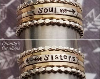 2mm-Sterling-Silver-Stackable-Soul-Sisters-Name-Rings-Stacking-Customized-Band-Hammered-Gold-Arrow-Gift-Best Friend-Beaded-Set-Sister-BFF