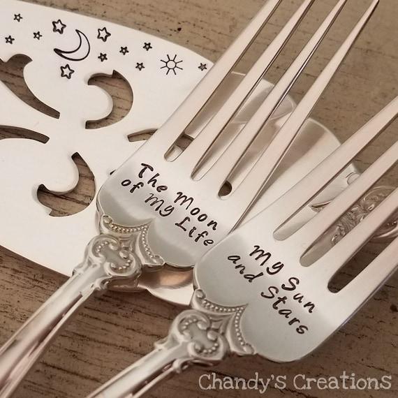 Wedding forks cake fork wire wrapped rose gold wedding fork engagement fork bride groom anniversary shower gift monogrammed wedding decor