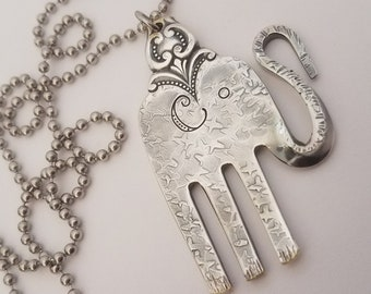 Elephant-Necklace-Upcycled-Fork-Jewelry-Spoon-Engraved-Stamped-Silver-Pendant-Hammered-Vintage-Antique-Mammoth-Recycled-Good-Luck-Charm-Sale